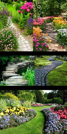 Garden Design Ideas Love the whimsical paths created with stones or pieces of wood - takes you that fantasy forestland you only dream about❤️