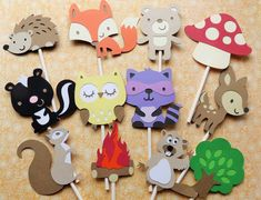 24 Woodland Cupcake Toppers, Cupcake Toppers, Woodland Party Decorations, Forest Animal Cupcake Toppers by MyMixedMediaCrafts on Etsy