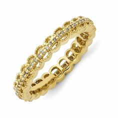 Carved Gold Plated Sterling Diamond Wedding Ring