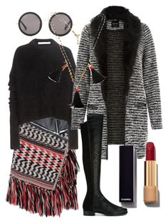 """""""fringe girl"""" by ariesmich on Polyvore featuring Dsquared2, Victoria Beckham, The Row, Stuart Weitzman, Chanel and Chicnova Fashion"""