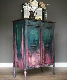 teal and pink antique closet, # teal . - teal and pink antique cabinet, # teal - Funky Furniture, Paint Furniture, Upcycled Furniture, Furniture Projects, Furniture Makeover, Furniture Design, Garden Furniture, Barbie Furniture, Rustic Furniture