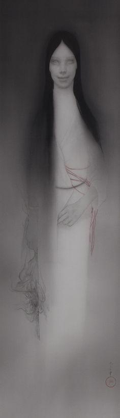 松井冬子 Fuyuko Matsui:「鳥眼」2012 絹本着色 via 成 山 画 廊