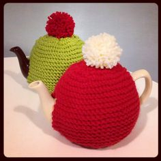 Handmade knitted teapot cozies ;)x www.magne.ie