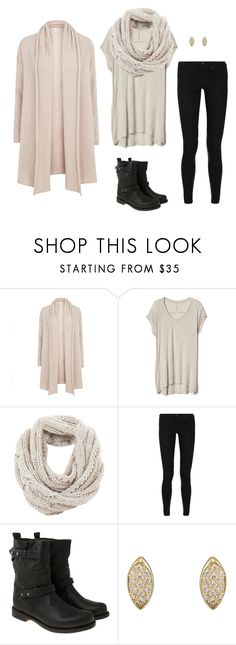 """Draped Cardigan. Slouchy Tee. Knit Scarf & Moto Boots"" by coolchick1630 ❤ liked on Polyvore featuring Madeleine Thompson, Gap, Mint Velvet, rag & bone and Jennifer Meyer Jewelry"