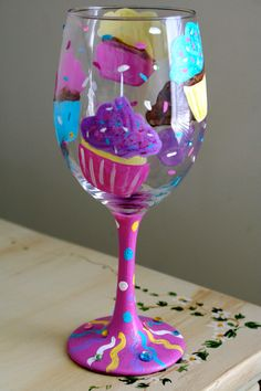 Hand-Painted Cupcake Wine Glass. $25
