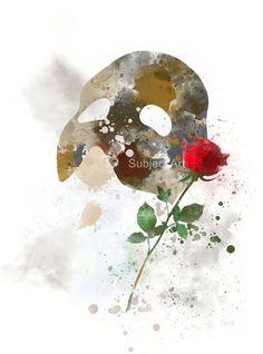 El fantasma de la ilustración de la impresión del arte de ópera, cine, arte de la pared, decoración del hogar, máscara, color de rosa