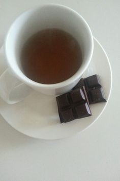 Peppermint Tea & Dark Chocolate. i like to offer tea or hot cocoa to anybody who comes over, especially in the winter/evenings.