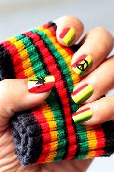 Rasta Nail Art by iLAVmynails from Nail Art Gallery Jamaica Nails, Jamaica Jamaica, Red Nails, Hair And Nails, Rasta Nails, Shoe Nails, Nails First, Diva Nails, Fabulous Nails