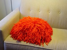 Rya knot shag felt bright tangerine orange by modernfiberlab