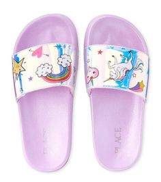 Shop for The Children's Place Girls Holographic Rainbow Faux Patent Leather Matching Slides. Check out our great selection of kids clothes, baby clothes & more at the PLACE where big fashion meets little prices! Little Girl Toys, Cute Little Girls Outfits, Toys For Girls, Girls Sandals, Girls Shoes, Cute Spiral Notebooks, Girl Unicorn Costume, Mermaid Shoes, Arts And Crafts Kits