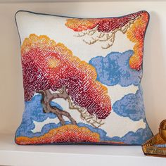 Yuzen Sunrise, A beautiful Japanese design featuring pine trees and adapted from original material in the Victoria and Albert museum. Tapestry Kits, Needlepoint Pillows, Needlepoint Kits, Victoria And Albert Museum, Japanese Design, Fun At Work, Design Museum, Museum Collection