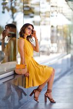 Summer 2015 Women latest fashion round neck sleeveless Pure color casual dress