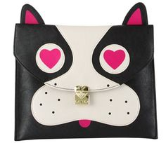 """Betsey Johnson Pug, Black, Clutch  Imported Magnetic flap-over Closure Features exterior pug face detail Interior wall zip pocket and 2 multi-functional slip pockets Fully lined floral print fabric lining 11"""" x 9"""" x 0"""" (WxHxD)"""