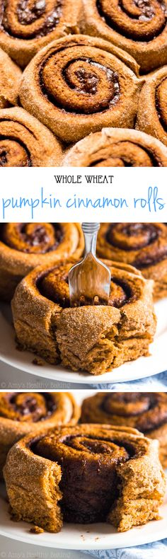 Clean-Eating Pumpkin Cinnamon Rolls -- where has this recipe been all my life?? They're the perfect breakfast treat & don't taste healthy at all!