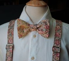 Floral Bow Tie And Suspender set / Handmade by CarolynnRedwineGeer $116