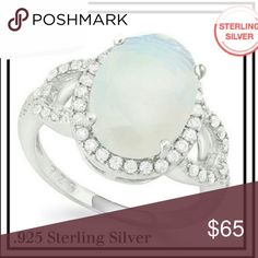 ⚠REDUCED⚠ Opal, White Sapphire .925 ring This gorgeous ring is crafted in solid .925 Sterling Silver and layered with 18k White Gold for durability. The ring contains 6.41 cwt White Opal and White Sapphire. Total weight for this ring is 4.00 grams. Jewelry Rings