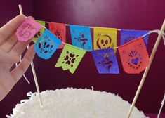Cake topper banners - Fiesta | Ay Mujer shop - Fine papel picado for weddings & the modern fiesta