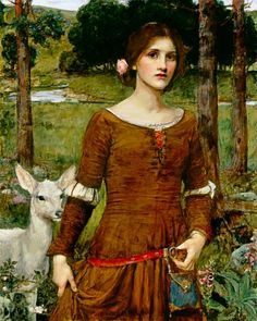 John William Waterhouse - The Lady Clare (1900)      She clad herself in a russet gown,  She was no longer Lady Clare:  She went by dale, and she went by down,  With a single rose in her hair.    The lily-white doe Lord Ronald had brought  Leapt up from where she lay,  Dropt her head in the maiden's hand,  And follow'd her all the way. - Tennyson