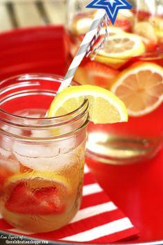Sangria with Strawberries, Apples and Lemons - Americana Theme Summer Party Entertaining  Ideas | @kimbyers TheCelebrationShoppe.com