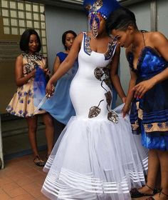 Wedding Shweshwe Dresses for 2019 ShweShwe 1 African Bridesmaid Dresses, African Wedding Attire, African Attire, African Dress, African Weddings, African Print Wedding Dress, Nigerian Weddings, African Traditional Wedding Dress, Traditional Wedding Attire