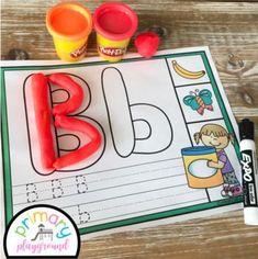 Alphabet  Beginning Sounds Dough Mats #doughmats  #kindergarten #literacycenter #alphabetdoughmats