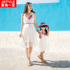 2016 Matching Mother Daughter Dresses Girl and Mother Chiffe Maxi Dress Parent-child Outfit Ma e Filha Girl White Maxi Dresses