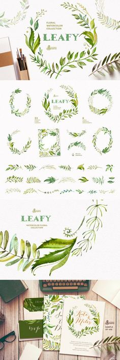 Leafy. Watercolor floral collection. Wedding Card Templates
