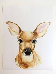 original watercolor PRINT on card stock Watercolor Pencil Art, Watercolor Deer, Watercolor Animals, Watercolor Paintings, Watercolor Techniques, Nursery Paintings, Animal Paintings, Animal Drawings, Art Drawings