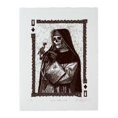 Calaveras Queen of Diamonds Woodcut Print