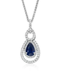 Captivating in color, this 2.13 ct. sapphire and diamond pendant features a pear-shaped sapphire and a double halo of pavé-set round diamonds.