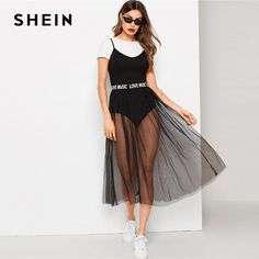 To find out about the Solid Cami Bodysuit & Lettering Waist Mesh Skirt Set at SHEIN, part of our latest Two-piece Outfits ready to shop online today! Mesh Skirt, Spandex Dress, Ankle Length Pants, Bikini, Winter Outfits Women, Summer Outfits, Two Piece Outfit, Cotton Dresses, Female Models