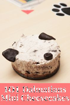 Creamy, chocolatey mini cheesecakes inspired by 101 Dalmatians. | Full recipe and video on Disney Family | [ http://family.disney.com/recipe/101-dalmatians-cheesecake ]