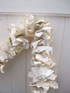VINTAGE Book pages - Wedding Garland - Repurposed Party Garland Upcycled books