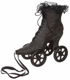 Hell on Wheels The spinster's boot is whimsically mounted in pull-toy fashion.