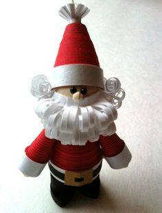 Quilled Santa Ornament Paper Quilled in Bright Holiday Red with Curly Beard