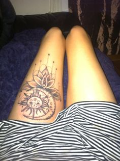Probably my favourite tattoo, large thigh price , hippy moon and star dotwork I think it's beautiful .