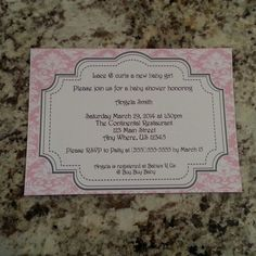 Pink Damask Baby Shower Invite by msmemories101 on Etsy