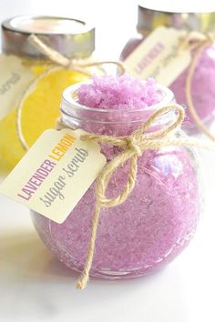This homemade sugar scrub is SO EASY and it smells amazing! It only takes 5 minutes to make and leaves your skin feeling so soft. It would make a great homemade gift. So luxurious!