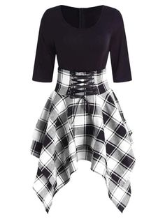 fashion dresses Women Lace Up Plaid Asymmetrical Dress O-Neck Description Occasion: Daily Style: Casual Material: Cotton,Polyester Silhouette: Asymmetrical Dresses Length: Knee-L Cute Casual Outfits, Edgy Outfits, Mode Outfits, Dress Casual, Plaid Dress, Cute Dress Outfits, Goth Girl Outfits, Skull Outfits, Casual Goth