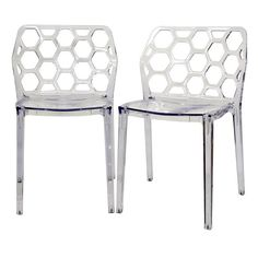 Give your decor a chic update with these modern lucite dining chairs. Featuring a honeycomb back, stackable design, and sturdy acrylic construction, this set of two chairs will give your dining area additional seating and a contemporary feel.