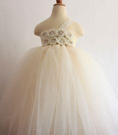 Ivory tutu dress Flower Girl Dress baby dress toddler birthday dress wedding dress 2T 3T 4T 5T 6T. $65.00, via Etsy.