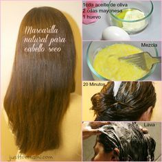 Mascarilla-natural-para-cabello-seco Diy Hairstyles, Elegant Hairstyles, Pretty Hairstyles, Natural Hair Care, Natural Hair Styles, Natural Skin, Hair Tips Home Remedies, Hair Health, Healthy Hair