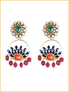 Golden earrings in red, orange, blue and green