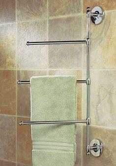 Gatco 1459 - Wall Mounted Swivel Towel Bar (Polished Chrome) - The Hardware Hut Lake Bathroom, Bathroom Towel Decor, Bathroom Plans, Bathroom Shelves, Bathroom Furniture, Bathroom Ideas, Bathroom Chrome, Bathrooms, Budget Bathroom
