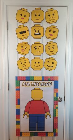 Pin your head on the Lego-Man game. Lego birthday party Pin your head on the Lego-Man game. Lego birthday party Pin your head on the Lego-Man game. Lego birthday party Pin your head on the Lego-Man game. Lego Party Decorations, Lego Party Games, Lego Party Favors, Lego Themed Party, Lego Birthday Party, 6th Birthday Parties, Lego Birthday Banner, Lego Movie Party, Lego Parties