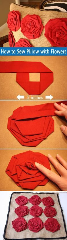 How to Sew a Pillow with Flowers. DIY tutorial www.handmadiya.co...