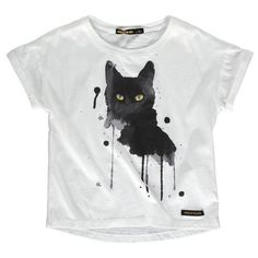 T-Shirt Cat in natural white with funky watercolor cat, round neck and extra short arms - by Finger in the Nose Sizes: 2 years to 16 years Shipping from EUR Teen Girl Fashion, Kids Fashion, Girls Tees, Kids Prints, Fashion Plates, Short Girls, Kids Outfits, Short Sleeves, T Shirts For Women