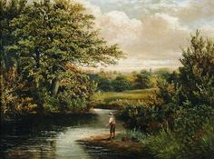 A Boy Fishing in a Wooded River Landscape - Benjamin Hold (1858-1917)