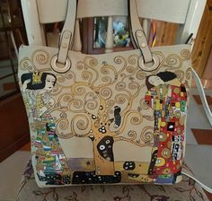 "Borsa ecopelle dipinta a mano ""the kiss"" Klimt hand painted bag"