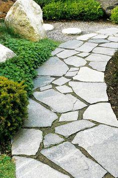 Rustic Flagstone Path Gravel Fill Narrow Stone Strip